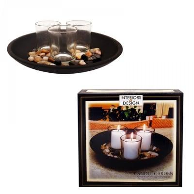 Свещник с 3 броя стъклени чашки за свещи