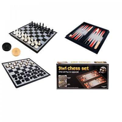 Магнитна игра 3 в 1 /шах, табла и дама/