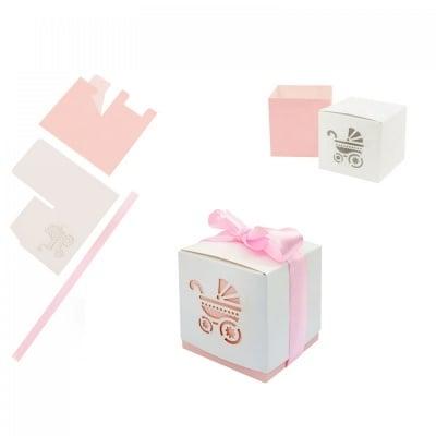 Картонени подаръчни  кутийки за бебешки събития - бяло-розова, COSMOPOLIS
