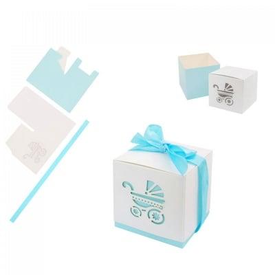Картонени подаръчни  кутийки за бебешки събития - бяло-синя, COSMOPOLIS