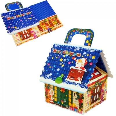 Коледна подаръчна кутия Къщичка, картон - 20*20*19см