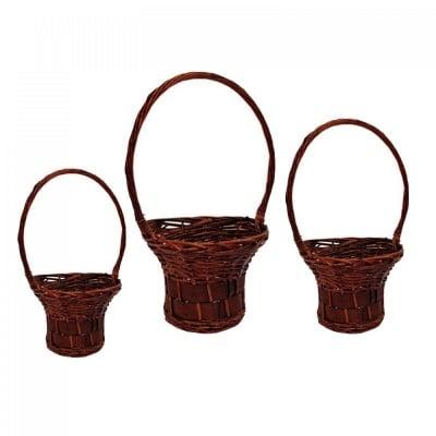 Комплект кръгли плетени кошници - 3 броя, COSMOPOLIS