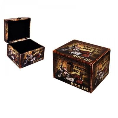 Кутия за съхранение, кожа 18х14х13 см