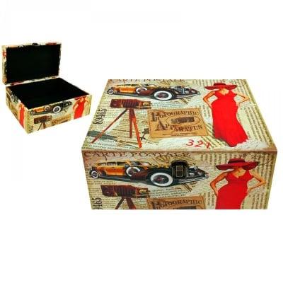 Кутия за съхранение, кожа - 34х22х16 см