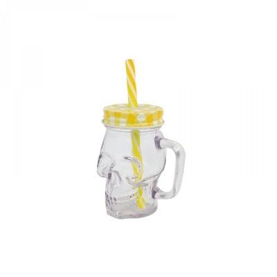 """Чаша """"Череп"""" с капачка и сламка /жълт/"""