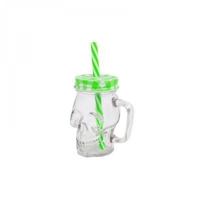 "Чаша ""Череп"" с капачка и сламка /зелен/"