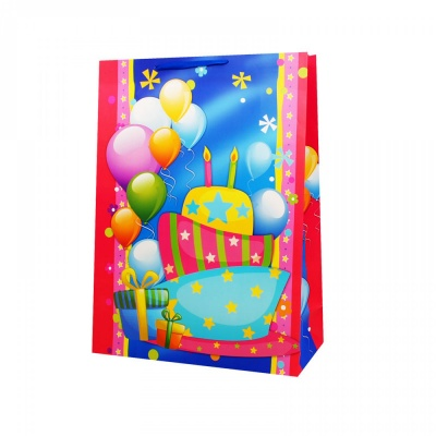 """Подаръчна торбичка """"Happy Birthday"""" /12 броя в опаковка - микс/"""