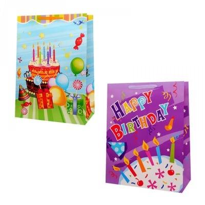 Подаръчна торбичка Happy Birthday /12 броя в опаковка - микс/