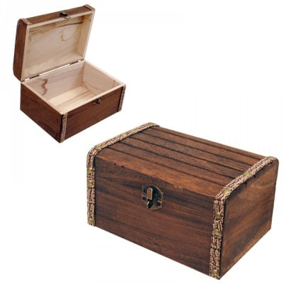 Кутия от дърво и кожа 18х13.5х10.5 см