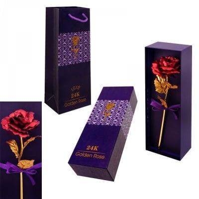 Златна Роза с червен цвят в кутия 25 см, с подаръчна торбичка