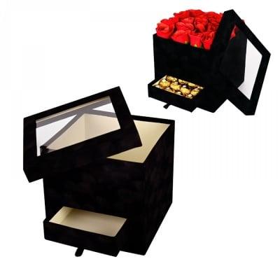 Подаръчна кутия с чекмедже и прозрачен капак /велур/