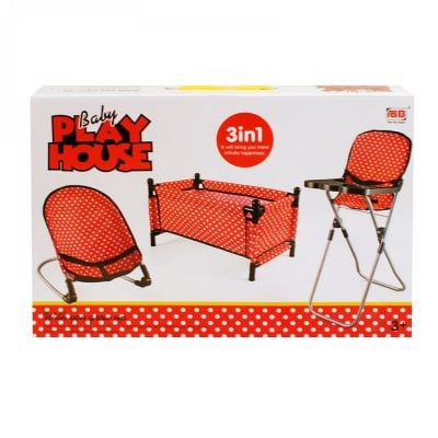 Комплект шезлонг, креатче и столче за кукла