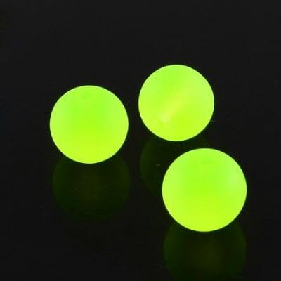 Наниз мъниста стъкло топче 8 мм дупка 1.3~1.6 мм прозрачно матирано жълто ~80 см ~105 броя