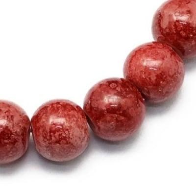 Наниз мъниста стъкло топче 8 мм дупка 1 мм със спрей червен тъмно ~80 см ~105 броя