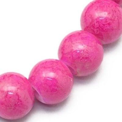 Наниз мъниста стъкло топче 8 мм дупка 1 мм със спрей розов ~80 см ~105 броя