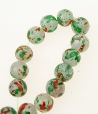 Наниз мъниста стъкло топче 10 мм дупка 1 мм прозрачно матирано многоцветно ~82 броя
