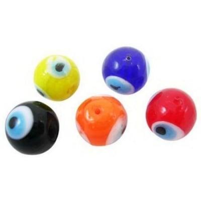 Топче око стъкло 12x12 мм дупка 2 мм ръчна изработка цвят МИКС -10 броя