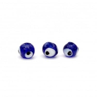 Мънисто стъкло Лампуорк топче око 8~9 мм дупка 2 мм цвят син -10 броя