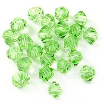 Мъниста кристал 4 мм дупка 1 мм имитация Сваровски зелен дъга -24 броя
