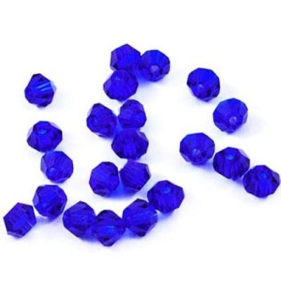 Мъниста кристал 4 мм дупка 1 мм имитация Сваровски тъмно син -24 броя
