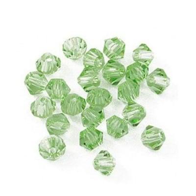 Мъниста кристал 6 мм дупка 1.3 мм имитация Сваровски зелен -12 броя
