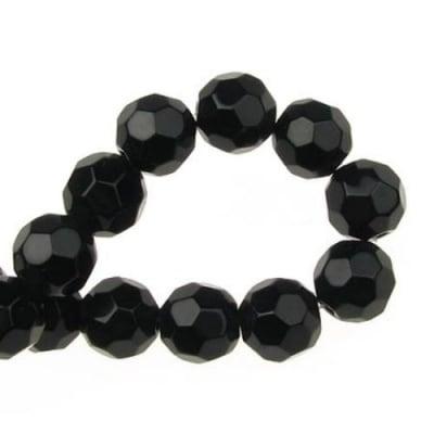 Наниз мъниста кристал многостенен 10 мм дупка 1.5 мм черен -34 броя