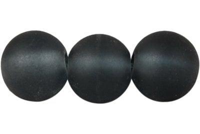 Наниз мъниста стъкло топче 8 мм дупка 1.3~1.6 мм прозрачно матирано сиво ~80 см ~105 броя