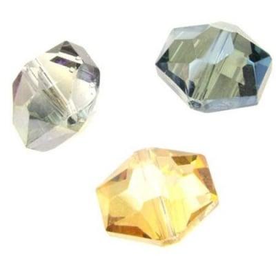 Мънисто стъкло хексагон 14x12x10 мм дупка 1 мм галванизирано фасетирано ДЪГА АСОРТЕ -4 броя