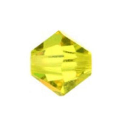 Мънисто Чешки кристал 5.7x6 мм цвят дупка 1 мм цвят лимонено жълто -12 броя