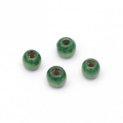 Мънисто дърво топче 9x10 мм дупка 4~5 мм зелено -50 грама ~150 броя