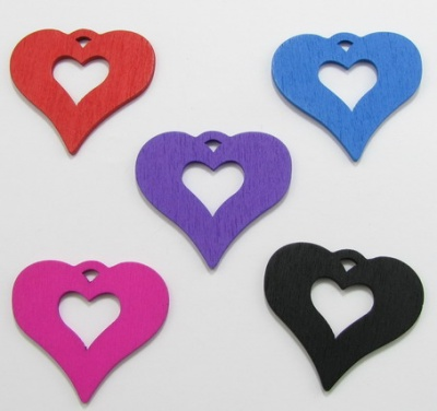 Висулка дървена сърце 43х48 мм цветно -10 броя
