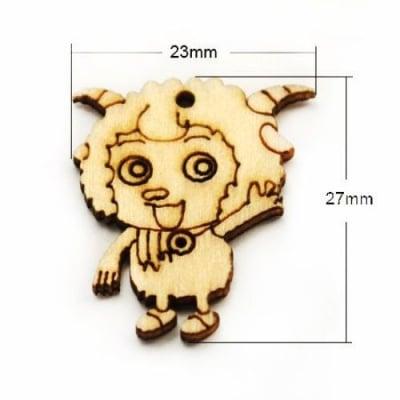 Висулка дървена овца 27x23x2 мм дупка 2 мм цвят дърво -10 броя