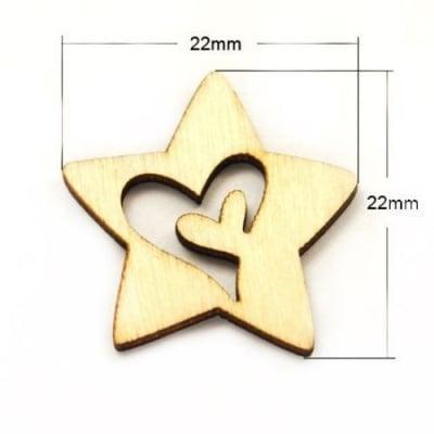 Фигурка дървена звезда 22x22x2 мм -20 броя