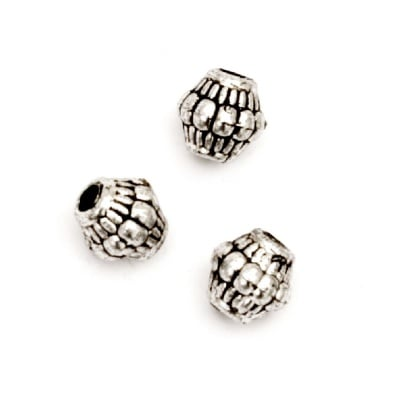 Мънисто метализе цилиндър релефен 7x7.5 мм дупка 2 мм сребро с черен кант -50 грама ~245 броя