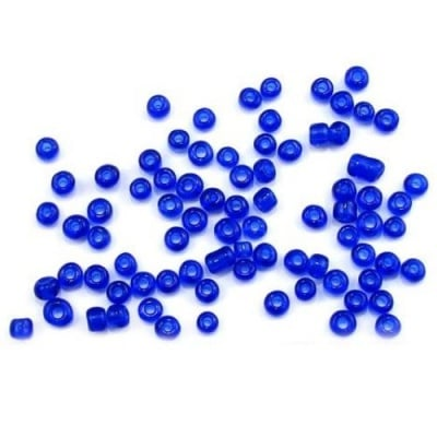 Мъниста стъклена 4мм. прозрачна тъмно синя -50 грама