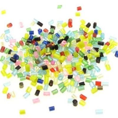 Мъниста стъклена пръчица 2.5~3x2 мм микс -50 грама