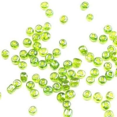 Мъниста стъклена 4мм. прозрачна перлена зелена 1 -50 грама