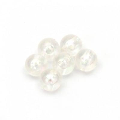 Мънисто перла топче 6 мм дупка 1.5 мм прозрачно дъга -50 грама ~420 броя