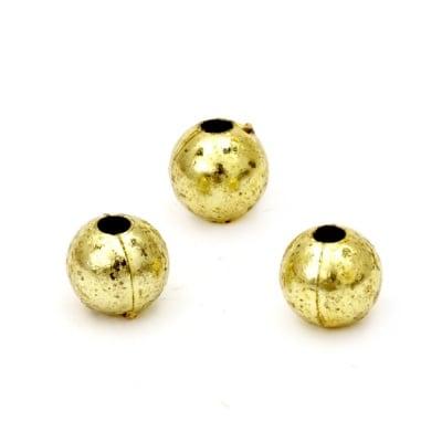 Перла метализе 8 мм дупка 2 мм цвят злато -50 грама ~160 броя
