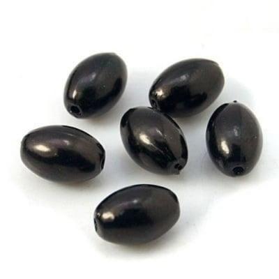 Мънисто перла овал 11x7.5 мм дупка 2 мм цвят черен -20 грама ~55 броя