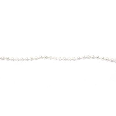 Гирлянд с перла пластмаса 4 мм цвят бял - 1 метър