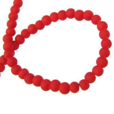 Наниз мъниста стъкло топче 4 мм дупка 1~1.5 мм гумирано червено ~80 см ~210 броя