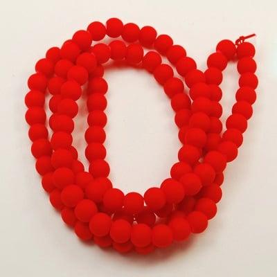 Наниз мъниста стъкло топче 14 мм дупка 1~1.5 мм гумирано червено ~80 см ~60 броя