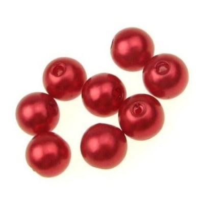 Мънисто перла топче 10 мм дупка 2 мм червено -50 грама ~100 броя