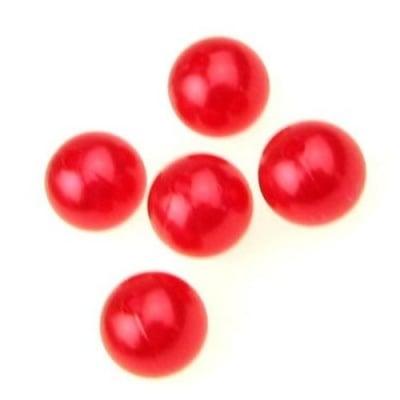Мънисто перла топче 14 мм дупка 3 мм червено -50 грама ~36 броя