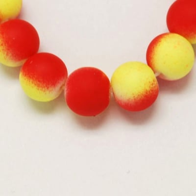 Наниз мъниста стъкло топче 10 мм гумирано червено и жълто ~80 см ~85 броя