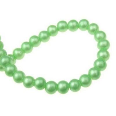 Наниз мъниста стъкло топче 6 мм дупка 1 мм зелено ~80 см ~105 броя