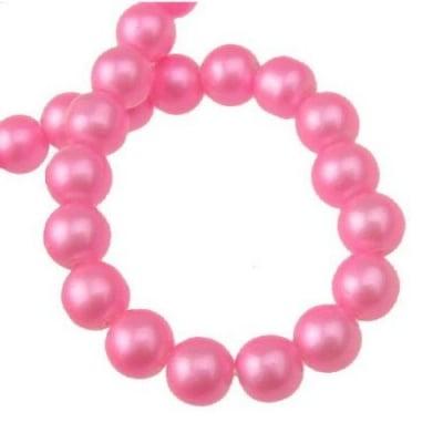 Наниз мъниста стъкло топче 8 мм дупка 1 мм розово ~80 см ~105 броя