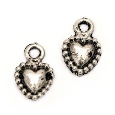 Висулка метална сърце 9x15 мм дупка 1 мм цвят старо сребро -10 броя