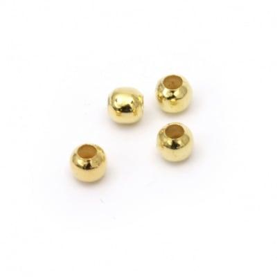 Топче метално 5 мм дупка 2 мм цвят злато -100 броя